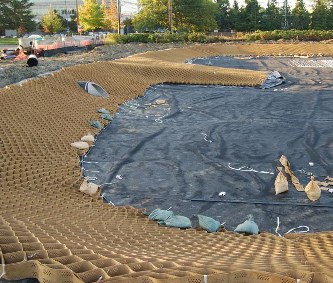 Detention pond geogrid for Design of stabilization pond